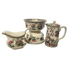Anysley Bone China - Teapot, Set of bowls, Creamer - Made in England