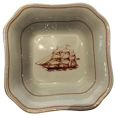 """Spode Trade Winds Red (Gold Trim) 9"""" Square Vegetable Dish - Ships, Nautical - Made in England"""