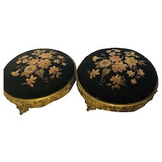 Antique Pair of Footstools, Floral Tapestry - Early 19th Century - Made in England