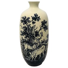 Royal Doulton Flambe Woodcut Blue & White Vase  - Deer & Forest