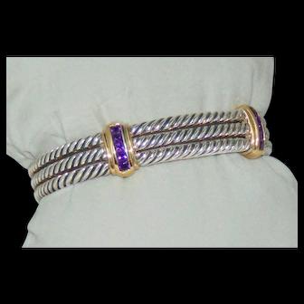 Sterling Silver 14k Y Gold 2 Station 5 X 3mm Triple Cable Amethyst Cuff Bracelet