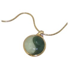 """NEW Vintage 14K Yellow Gold White Green and White Jade YIN YANG Pendant with 18"""" Necklace 11gr"""