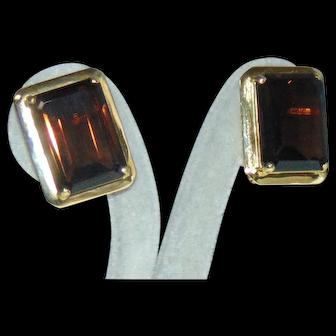 Large Statement  Estate 14K Yellow Gold Emerald Cut Smoky Quartz Omega Earrings 28ct 11g