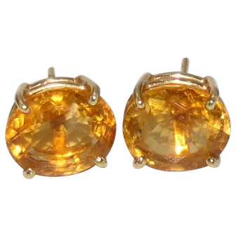Large Vintage Solid 14K Yellow Gold 9 x 12mm Oval CITRINE Stud Earrings