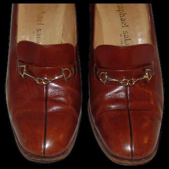 Vintage RAPHAEL SALATO Roma Caramel Brown Leather Horsebit Stack Heel Pump Shoe ITALY