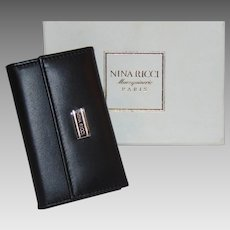 New in Box with Tag Vintage NINA RICCI Paris Maroquinerie Black Leather Key Case with Silvertone Hardware ITALY