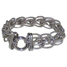Gorgeous New Vintage VIOR 14k White Gold Large Multi- Chain Link Spring Ring Bracelet ITALY