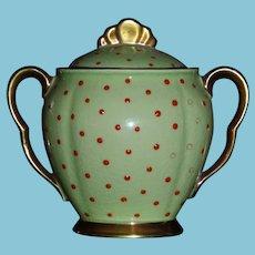 Vintage Sugar Bowl Carleton Ware Bright Green with Orange Jewels