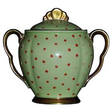 Vintage Sugar Bowl Carleton Ware Bright Green with Orange Jewels