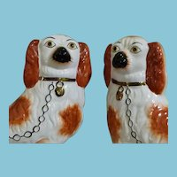 ca. 1851 - 1875 Set of Handpainted Staffordshire Dogs in Rust and White