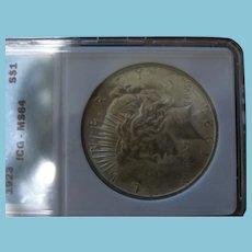 1923 Peace Silver Dollar MS 64
