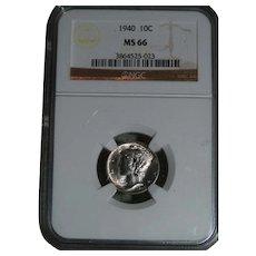 1940 Mercury Head Dime MS 66