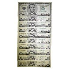 ca 2001 Ten (10) $5.00 Notes San Francisco
