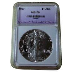 1987 American Silver Eagle Coin MS-70 APCG
