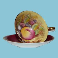 c. 1930 John Aynsley & Sons Burgundy  Teacup and Saucer with Fruit