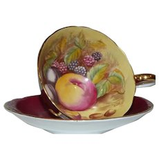 c. 1930 John Aynsley & Sons Burgundy  Teacup and Saucer with Fruit