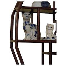 Vintage Wooden Shelf Display Cabinet - Vintage Cats & Kittens in Porcelain