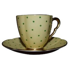 c. 1920 Carletonware Demitasse in Light Yellow with Lime Green Dots