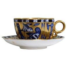 Coalport Miniature Japanese Grove Quatrefoil Cup and Saucer 1891 - 1920