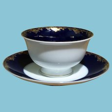 ca. 1969 - 1981 Rosenthal Group Cobalt Blue and White Cup and Saucer
