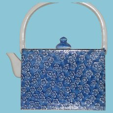 Vintage Porcelain Asian Blue and White Teapot in Purse Shape