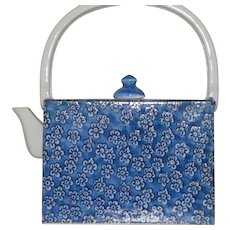 Vintage Porcelain Asian Blue and White Teapot in Purse Shape