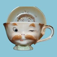 Camille Naudot Cup and Saucer Gentleman with Mustache
