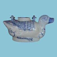 Vintage Figural Blue and White Duck-Shaped Teapot