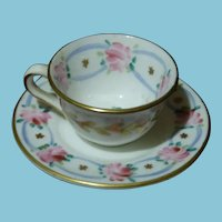 Vintage Foley Bone China Pink Flowers Miniature Cup and Saucer