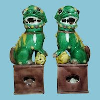 ca 1920 - 1930 Matched Pair Chinese Fu Dogs in Sancai (Three Colors) Movable Eyes and Tongue Incense Burners