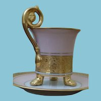 c. 1920-1939  Epiag Royale Fragonhard Shape Pink/Gold Footed Cup and Saucer