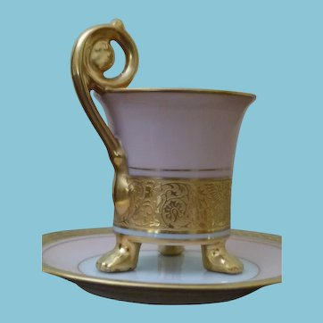 c. 1920 + Epiag Royale Fragonhard Shape Pink/Gold Footed Cup and Saucer