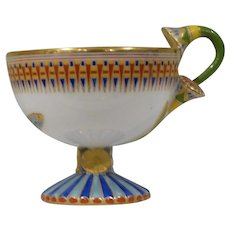 Vintage Ginori Cup in an Egyptian Pattern with a Lotus Flower Handle