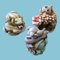 Vintage Harmony Kingdom c. 2000 Trio Dolphins, Field Mice and Tree Frogs