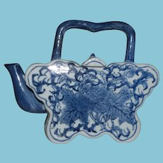 Vintage Japanese Blue and White Decorative Teapot Butterfly Shape
