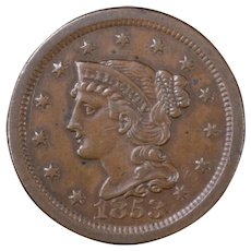 1853 Large Cent AU Braided Hair