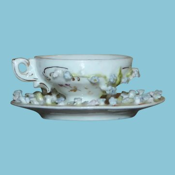 c. 1800's Miniature Cup and Saucer with Applied Flowers Bone China