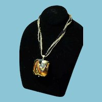Vintage Murano Gold and Black Glass Pendent  & Necklace