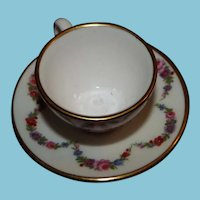 Caverswell England Miniature Cup and Saucer Signed - Excellent Condition