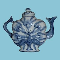 ca. 1970+ Small Blue and White Japanese Decorative Peacock Teapot