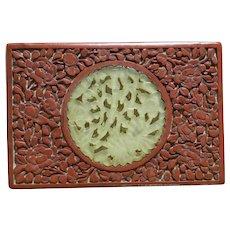 ca 1900 - 1925 Red Cinnabar Box with Hand-carved Serpentine Stone Relief Pierced Medallion