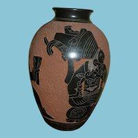 Vintage Roger Corlero Water Vase w/Aztec Figures