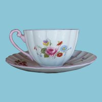 Shelley Rose & Red Daisy Teacup and Saucer