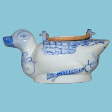 Vintage Whimsical Chinese Duck Shape Teapot
