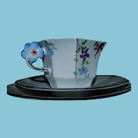 ca 1933 Melba Bone China Trio with Flower Handle