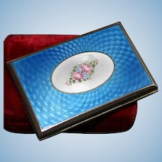 Vibrant 800 Silver Business Card Holder Slim Box With Blue Enamel and Floral Motif