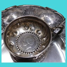 1800's Coin Centerpiece In Solid Silver Tastevin From Spain, Elegant Antique Wine Taster
