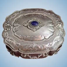Old and Gorgeous 800 Silver Box From Milan, Italy in Mint Condition With Blue Lapis Lazuli Cabochon and Gold Vermeil Interior