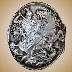 800 Silver Box With Saint George Knight on Horse Slaying Dragon Lid Unique Old World Treasure