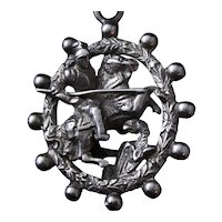 """800 Silver San Giorgio Medallion Big 2"""" Italian Vintage Pendant With St George Knight and Dragon From Florence"""